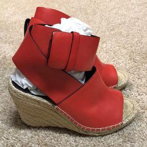 Celine Leather Ankle Strap Wedge Espadrilles
